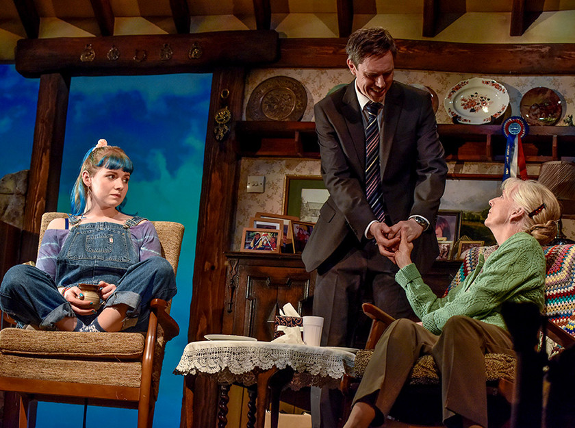 Kitty Douglas, Ben Porter and Liz Crowther in Visitors at Oldham Coliseum