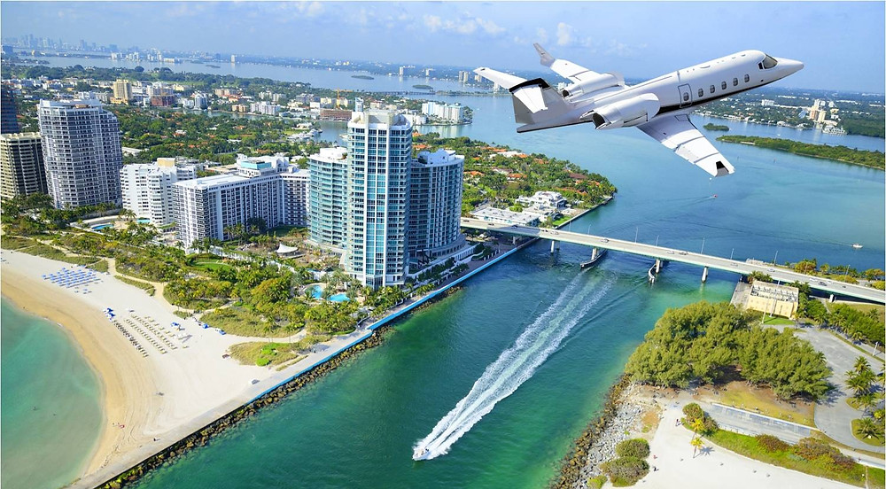 Private Jet flying over Miami