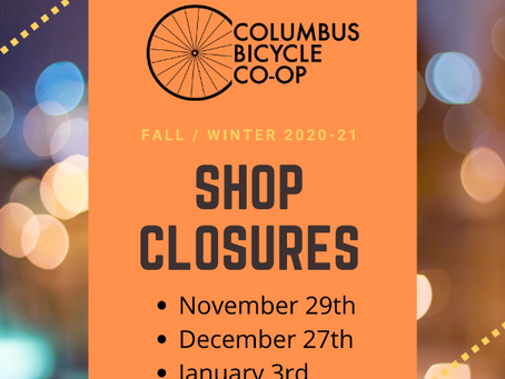 Fall/Winter holiday shop hours 2020/21