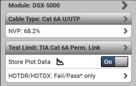 Cable Type and Test Limit