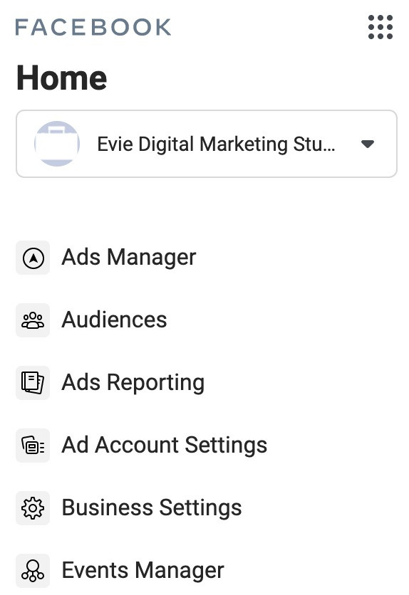 Facebook Business Manager Evie Studios