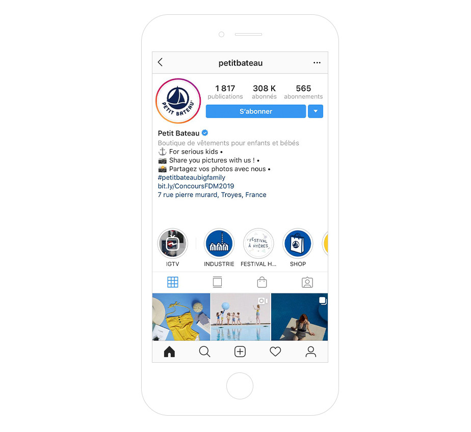 Petit bateau - Bio Instagram