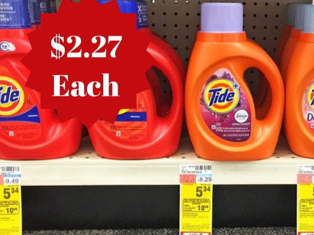 Score Tide Detergent for $2.27 each at CVS starting 11/29 - 12/05