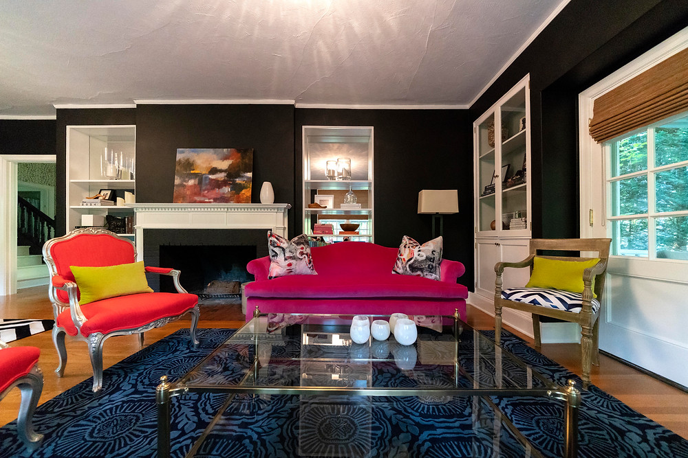 clean and fresh interior design Portland, classic portland interior design, portland life, portland design, pink couch portland, orange chair, black living room