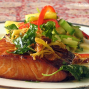 Asian Style Grilled Salmon with Fried Basil & Ginger Oil