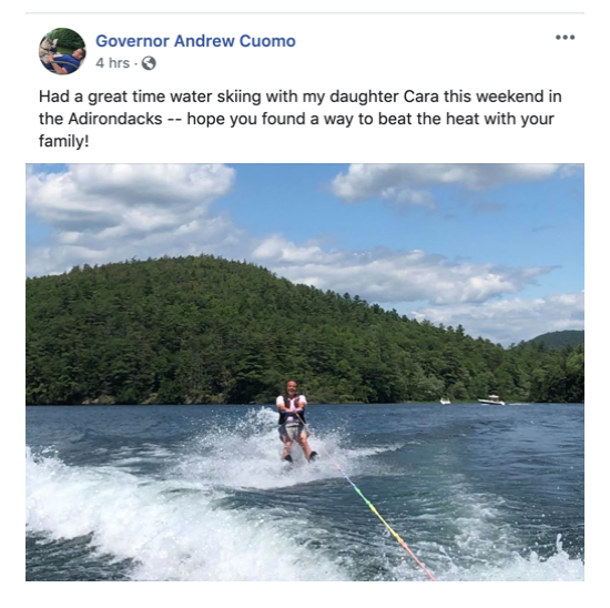 Facebook Post: Governor Cuomo on family bonding over the weekend.
