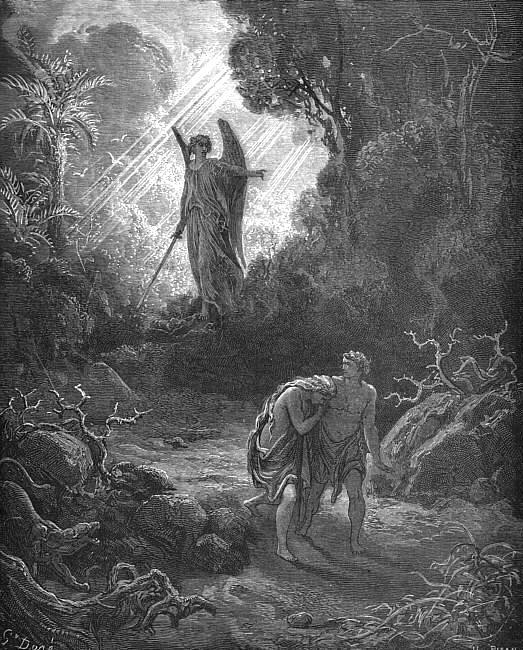 Gustave Doré, Adam and Eve Driven out of Eden, 1865