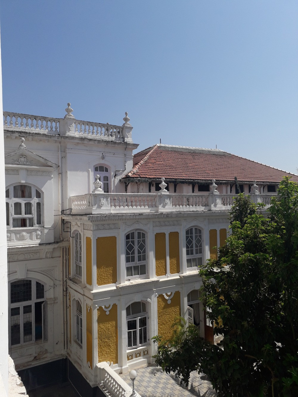 Courtyard and terrace in Lalitha Mahal Palace