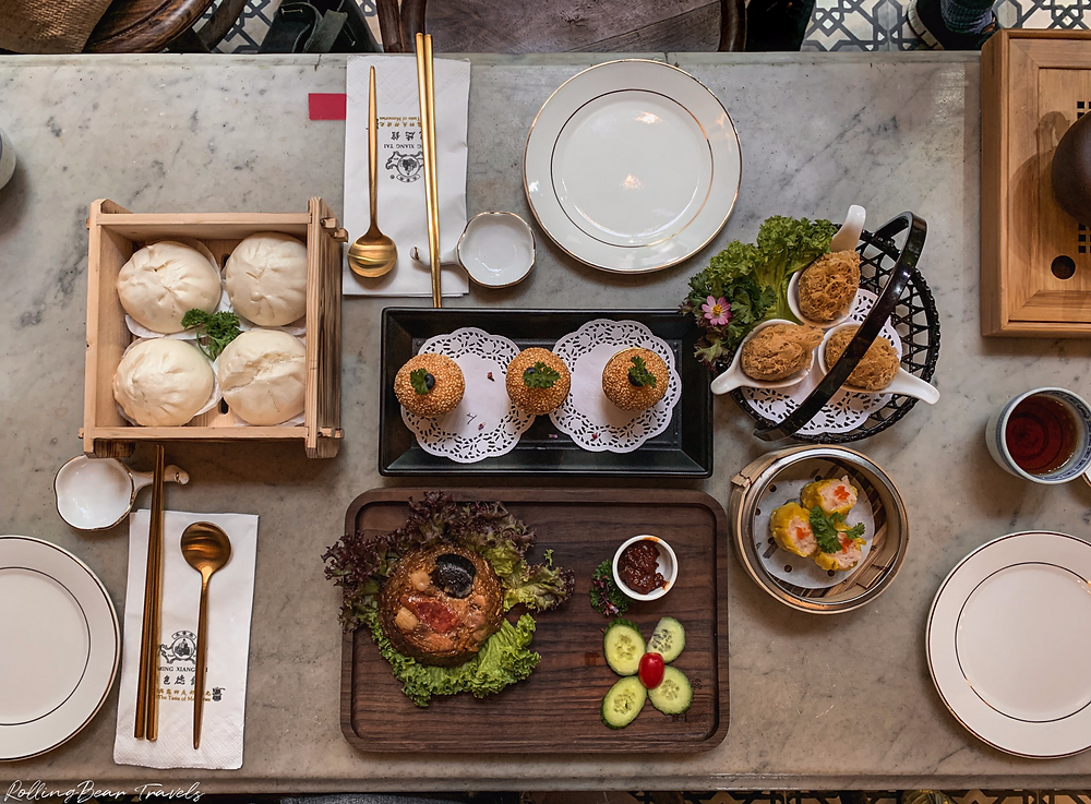 Bao Teck Teahouse dim sum lunch review | Flatlay dim sum food photography by RollingBear Travels.