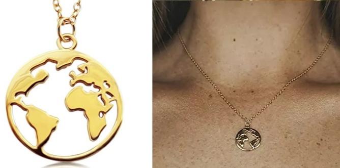 Collier globe monde
