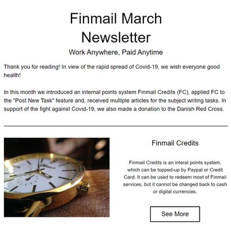 Finmail March Newsletter