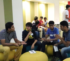 Young entrepreneurs in discussion