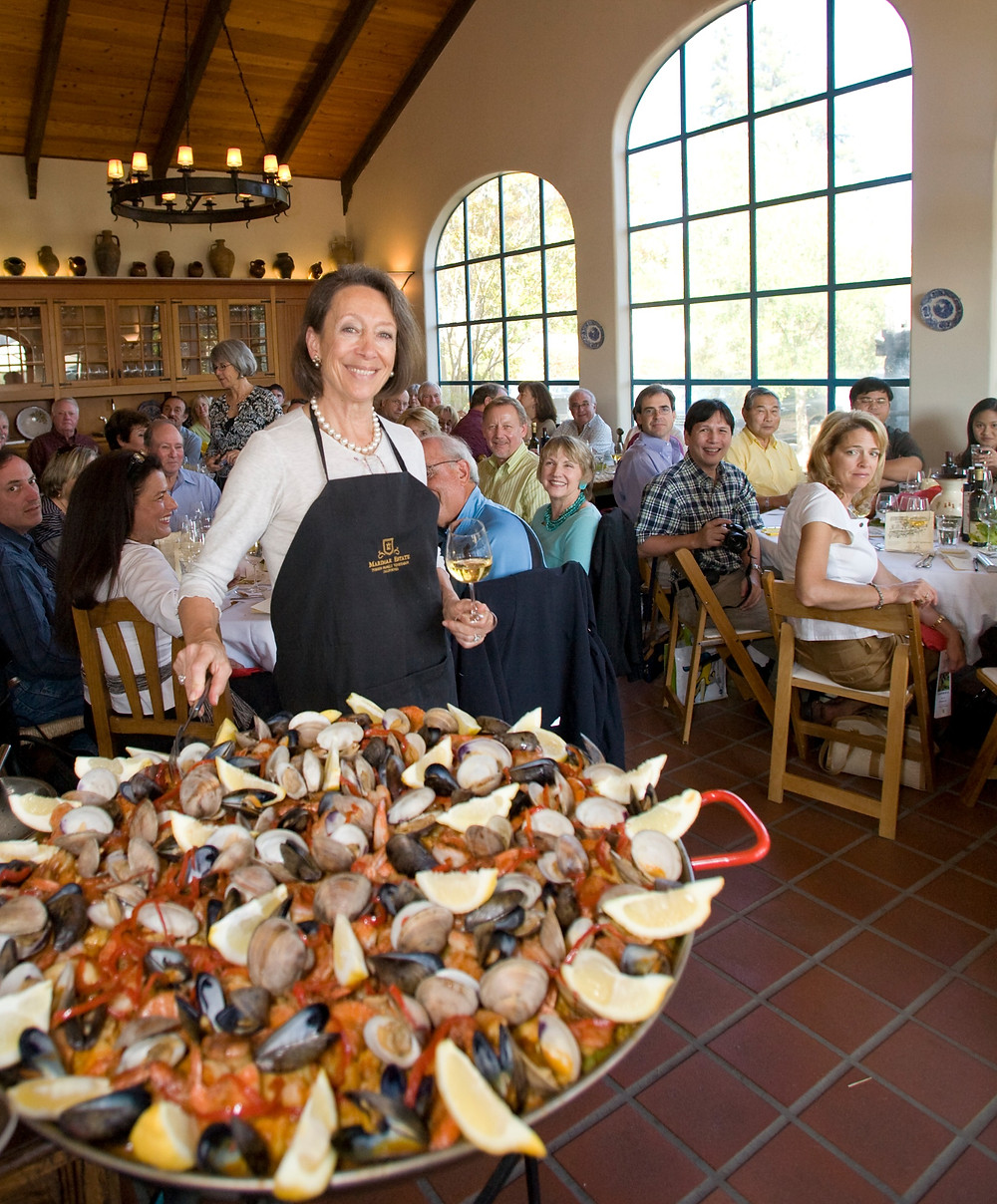 Marimar Torres cooking paella at her winery in Sonoma County