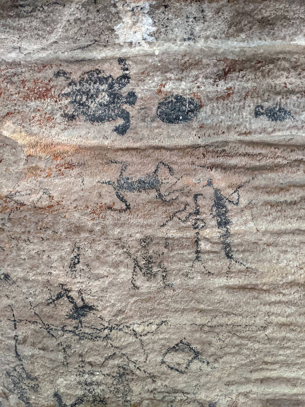 Pictographs, Mountain River, Cave, St Catherine, Jamaica. Graffiti photographed by Tracey Thorne for her project Hand-painted Jamaica