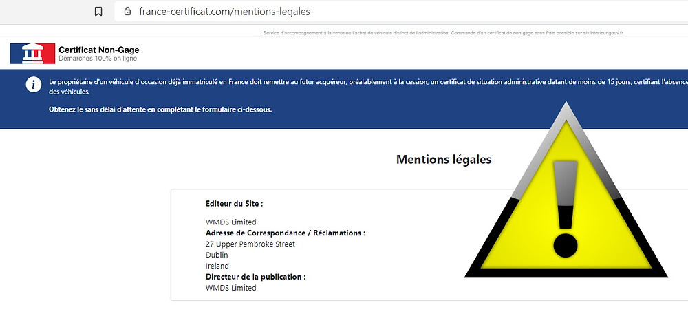France-Certificat arnaque