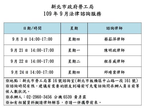 【勝綸公告】本所專業律師團隊9月份新北市勞工局諮詢時段為9/3(四)、9/21(一)、9/22(二)、9/24(四),本所義務律師服務時段如下表,請有需要的朋友多加利用。