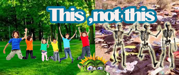 An image made of two parts. One happy children with a green background. The other, skeletons with a devastated background.