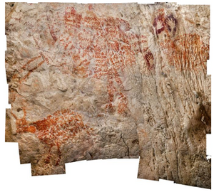 With a minimum age of 40,000 years, a trio of cow-like creatures, seen here in a composite image, is considered to be the oldest figurative artwork yet found.