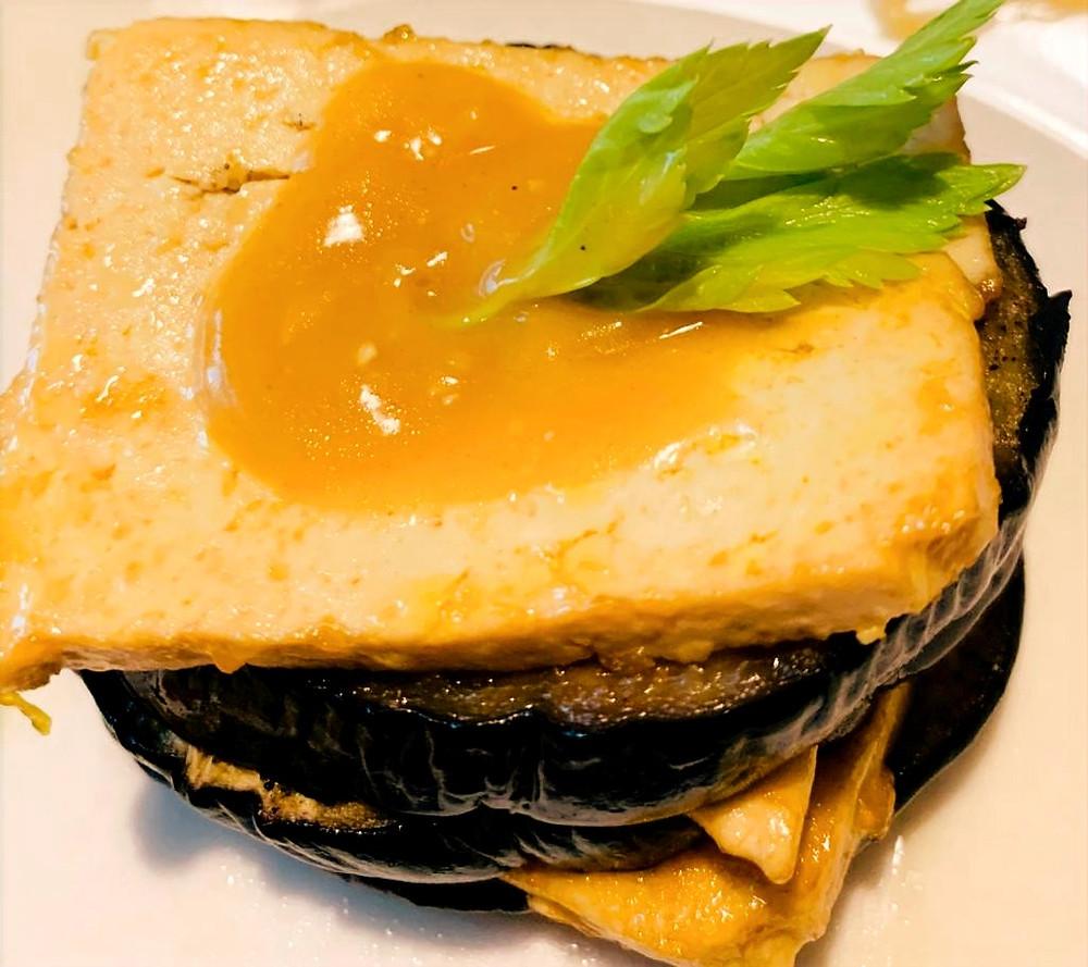 Vegan Millefoglie recipe made with tofu and eggplant. Gluten free
