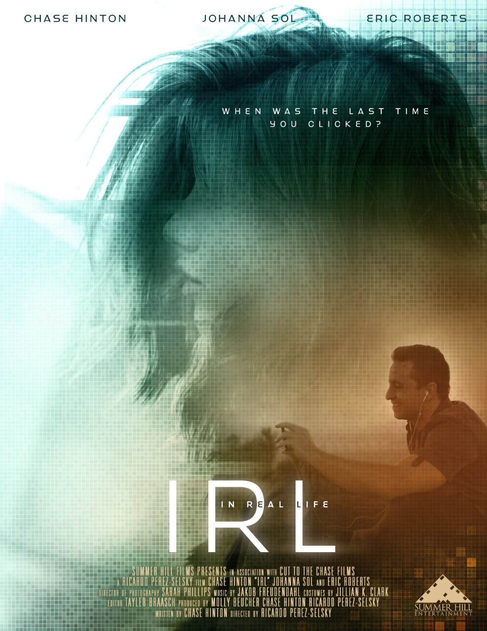 Film Poster for IRL showing protagonists Chase Hinton and Johanna Sol.