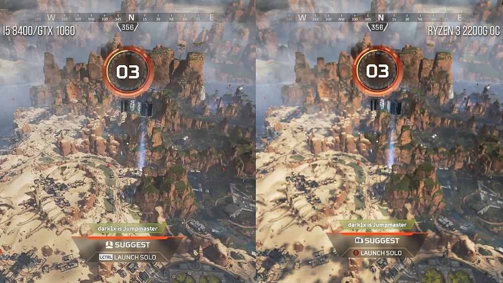 Apex Legends на ПК в действии: GTX GeForce 1060 слева, Ryzen 3 2200G с интегрированной графикой — справа (разрешение — 1080p)