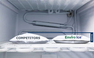 Two gel packs side-by-side. Standard pack bulges when flash frozen while the Enviro Ice drain safe gel does not.