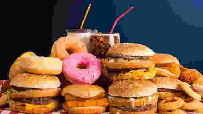 Burgers, Donuts, Soda, and Milkshakes.