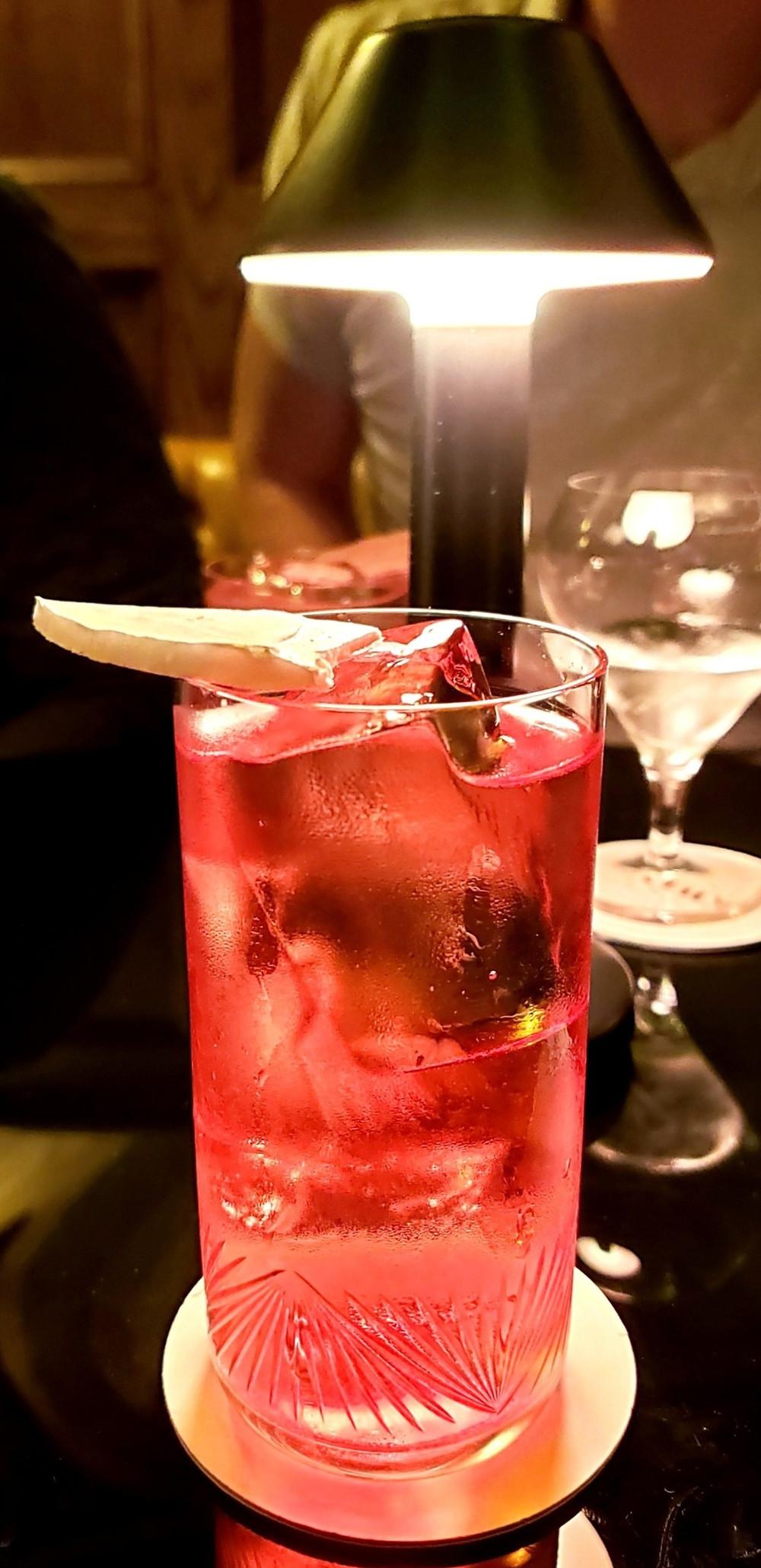 red iced citrus lemon cocktail
