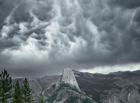 Half Dome and Mammatus Clouds