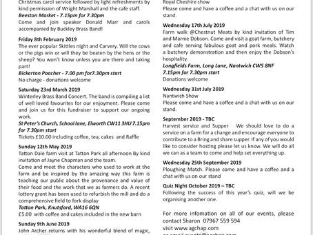 Cheshire Agricultural Chaplaincy  Social Events Calendar