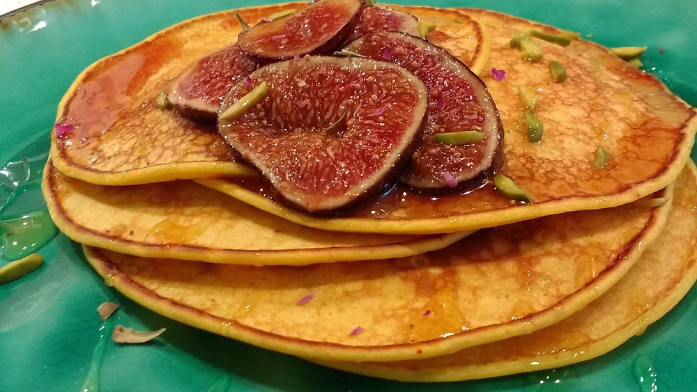 Saffron and Rose petal pancakes with honey glazed pan fried figs