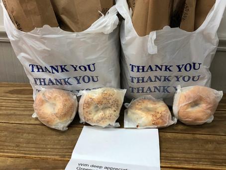 """Bagels """"thank"""" Greenwich Hospital"""