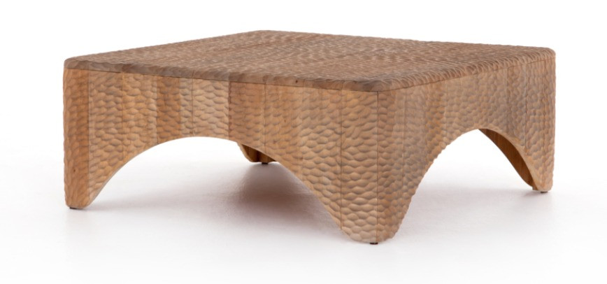 solid mahogany coffee table hand carved, textural, dimple-like look with warm, sun-bleached undertones. handmade