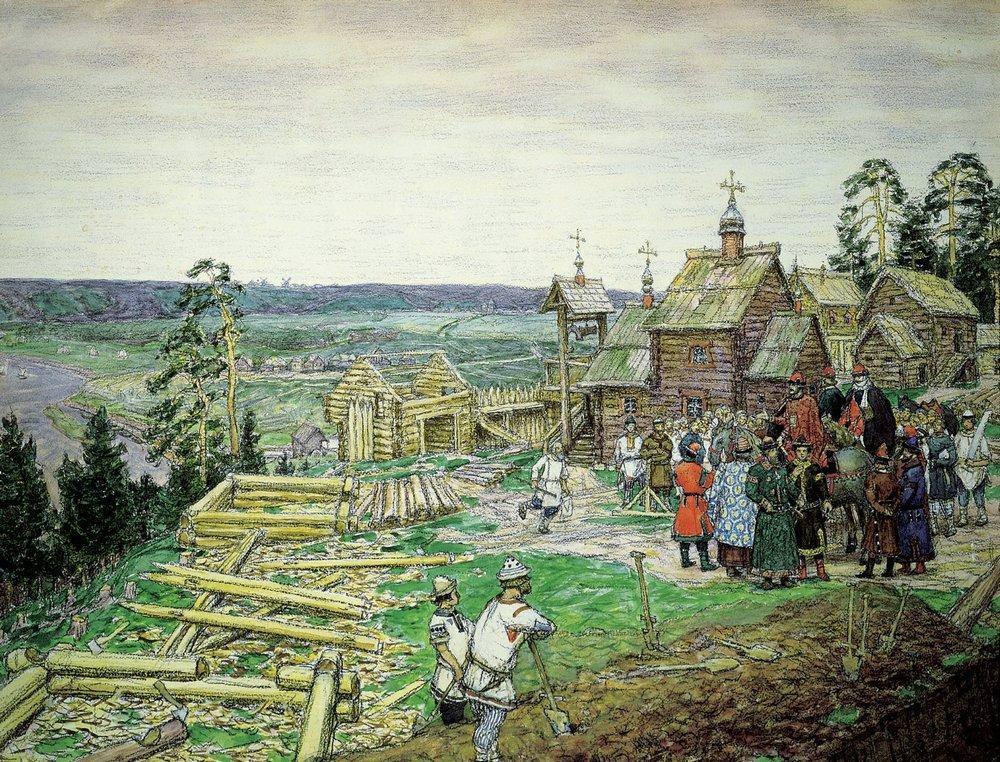 Основание Кремля. Постройка новых стен Кремля Юрием Долгоруким в 1156 году (1917 год)