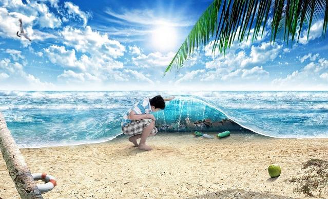 Déchets plastique sous océan