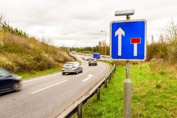 Motorway slip road and merge lane