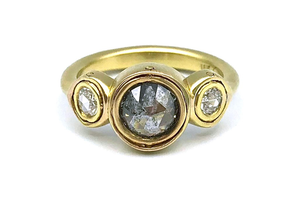Triplet Gemini Ring | Gray Galaxy Rose Nouveau Diamond | 18k Yellow Gold