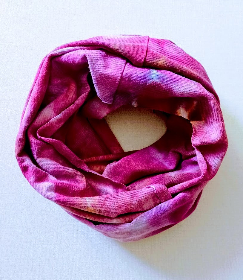 Pink tie dyed scarf