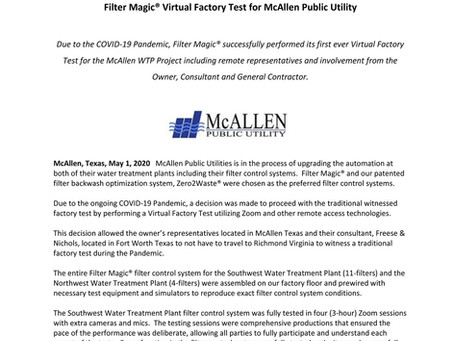 """Filter Magic Team successfully completed their """"first ever"""", Virtual Factory Test for McAllen WTP"""