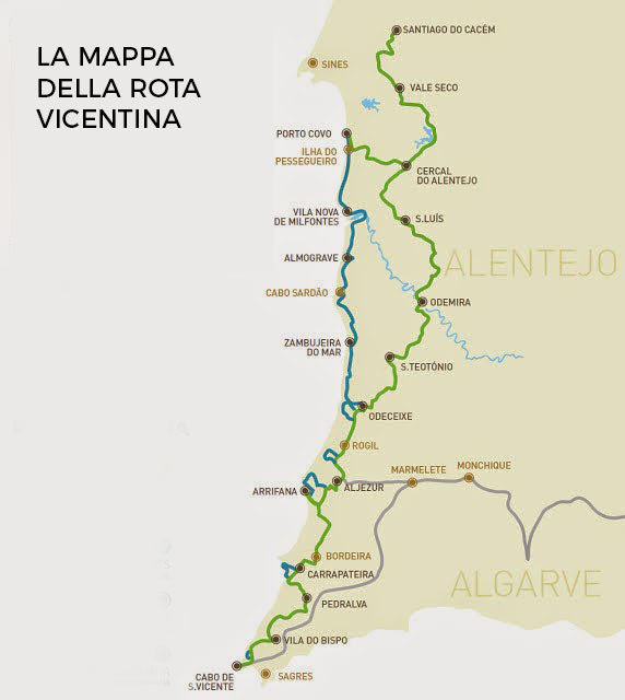 Rota vicentina Mappa