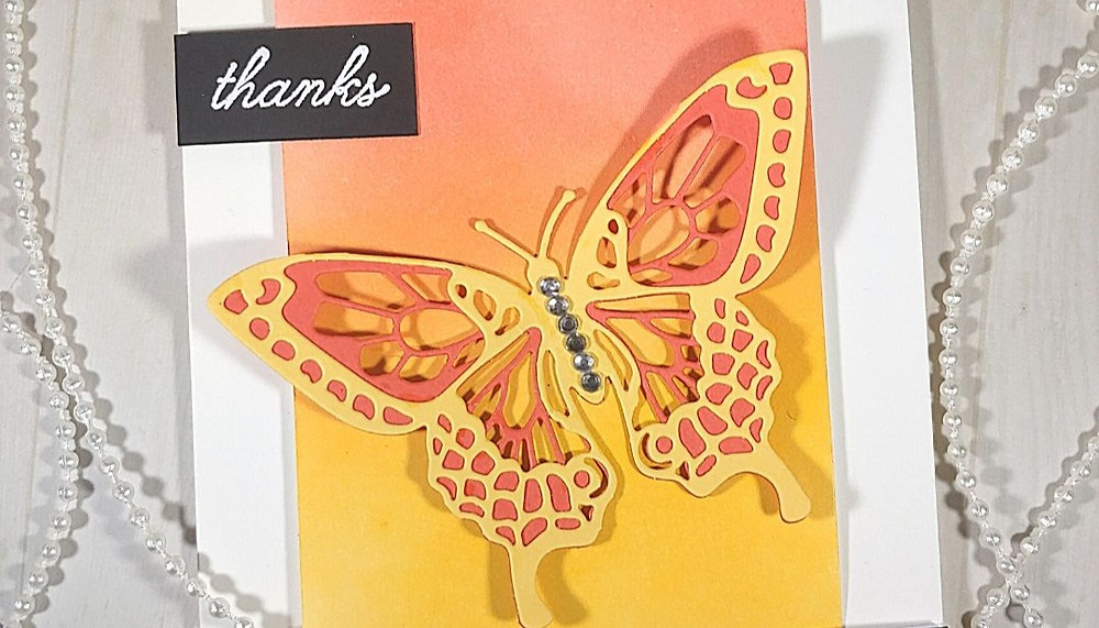 Close of Butterfly on Thanks card using Stampin' Up! products