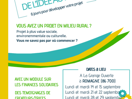 DE L'IDEE AU PROJET - Session de septembre 2020