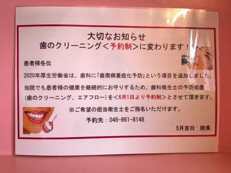 歯のクリーニングが予約制に変わります🌼