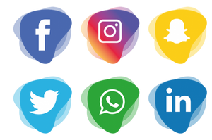Seis ícones de mídias digitais, facebook, instagram, snapchat, twitter, whatsapp, linkedin