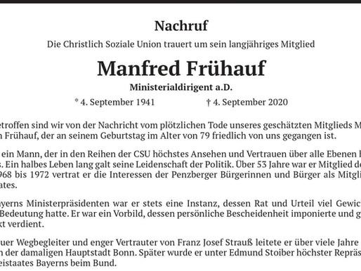 Die Christlich-Soziale Union trauert um Manfred Frühauf