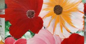 Summer flowers, 30x40cm acrylic on art board...