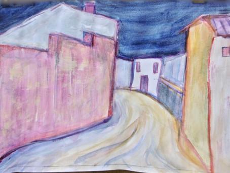 Peinture : rue d'un village andalou