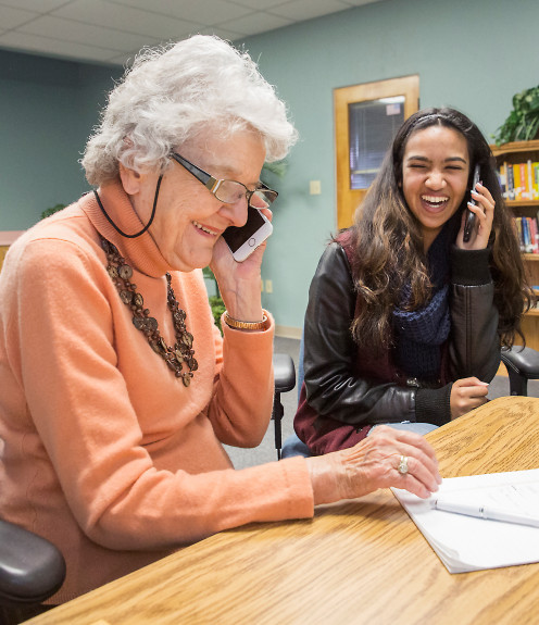 From The Mercury News Article: West Valley: Teens teach tech to older residents (Lynbrook High junior Udita Saha, 16, helps Gloria Baird learn how to use her new iPhone 7 during a Teach Seniors Technology session, held at the Campbell Community Center. (Photograph by Jacqueline Ramseyer))