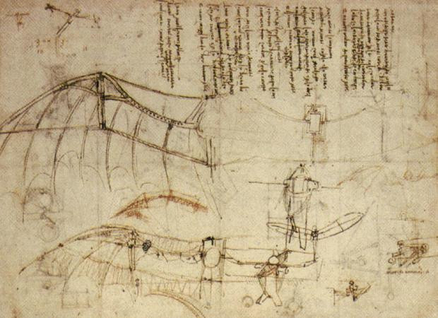 an image of da Vinci's notes and designs for a flying machine, made circa 1488