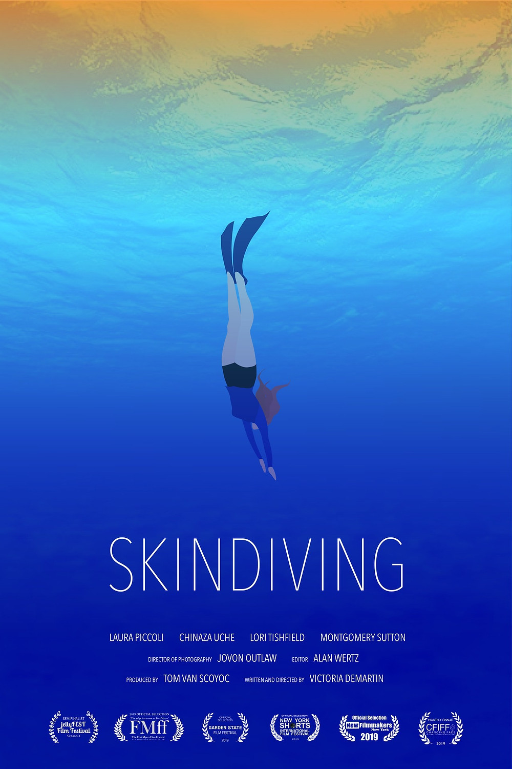 Animated graphic of a woman freediving underwater. Film title Skindiving